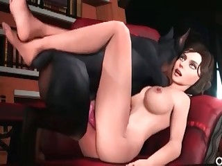 Busty chick fucks with a Doberman