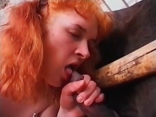 Redhead is blowing a stallion cock